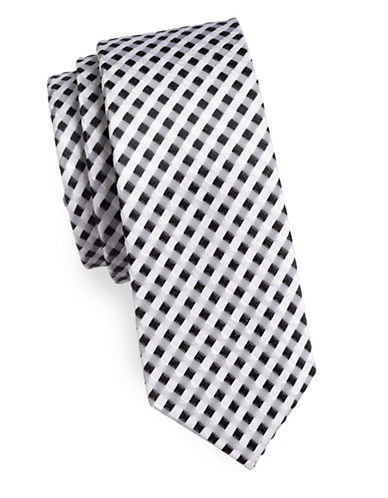 Haight And Ashbury Gingham Cotton Slim Tie-BLACK/WHITE-One Size