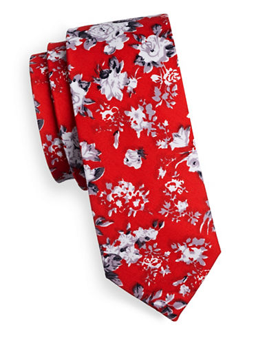 Haight And Ashbury Slim Floral Denim Tie-RED-One Size