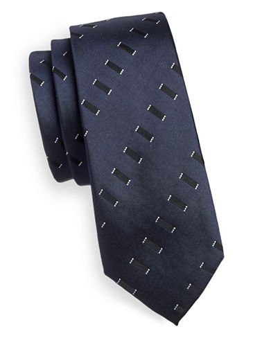 Haight And Ashbury Geometric Silk Tie-NAVY-One Size