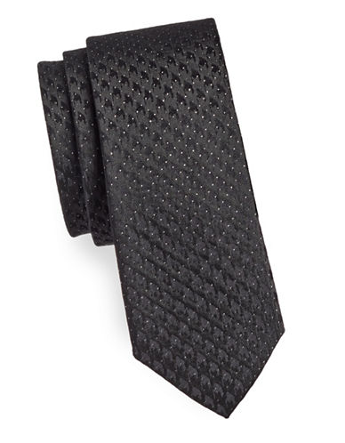 Haight And Ashbury Houndstooth Dot Silk Slim Tie-BLACK-One Size