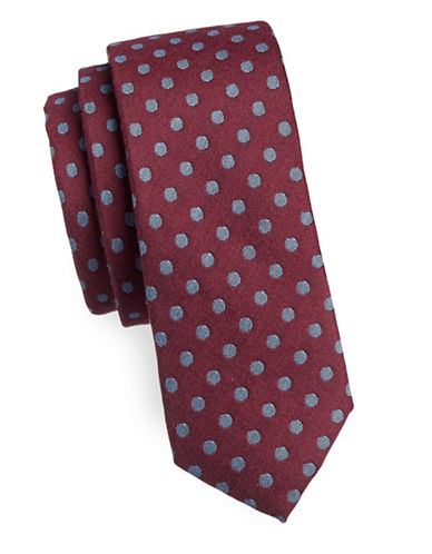 Haight And Ashbury Polka Dot Slim Cotton Tie-BURGUNDY-One Size