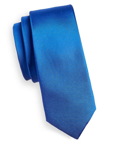 Haight And Ashbury Slim Solid Silk Tie-BLUE-One Size
