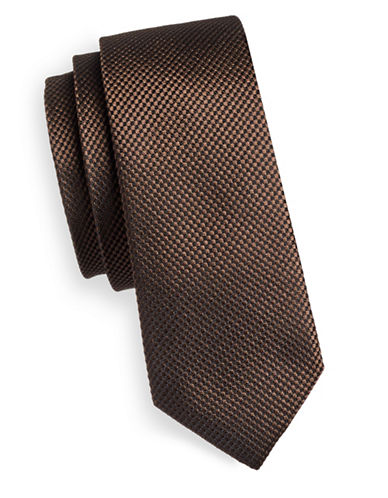 Haight And Ashbury Textured Silk Tie-BROWN-One Size
