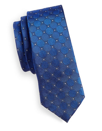 Haight And Ashbury Skinny Silk Tie-BLUE-One Size
