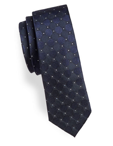 Haight And Ashbury Circles Silk Slim Tie-NAVY-One Size