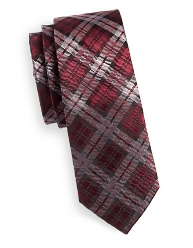 Haight And Ashbury Tonal Plaid Silk Tie-RED-One Size