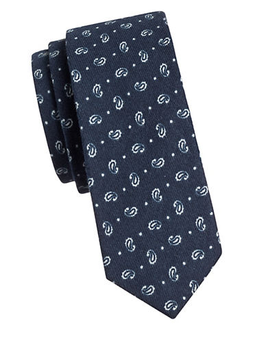 Haight And Ashbury Paisley Cotton Slim Tie-NAVY-One Size