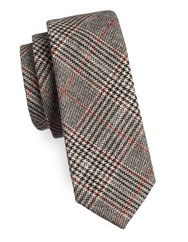 Haight And Ashbury Glen Plaid Slim Tie-BROWN-One Size