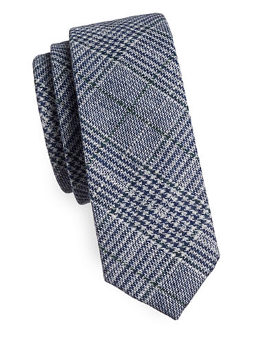 Haight And Ashbury Glen Plaid Slim Tie-BLUE-One Size