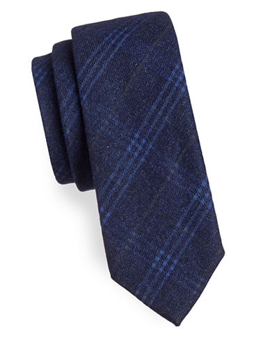 Haight And Ashbury Geo Plaid Cotton Slim Tie-NAVY-One Size