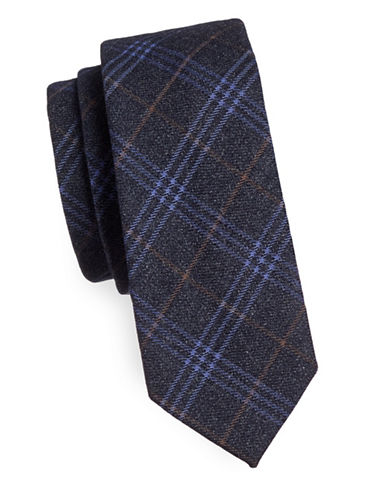 Haight And Ashbury Geo Plaid Cotton Slim Tie-CHARCOAL-One Size