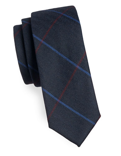 Haight And Ashbury Checkered Cotton Slim Tie-NAVY-One Size