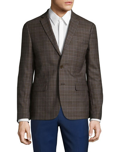 Haight And Ashbury Wool Plaid Sports Jacket-BROWN-36 Regular