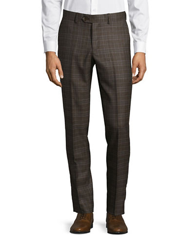 Haight And Ashbury Check Wool Flat-Front Pants-BROWN-28