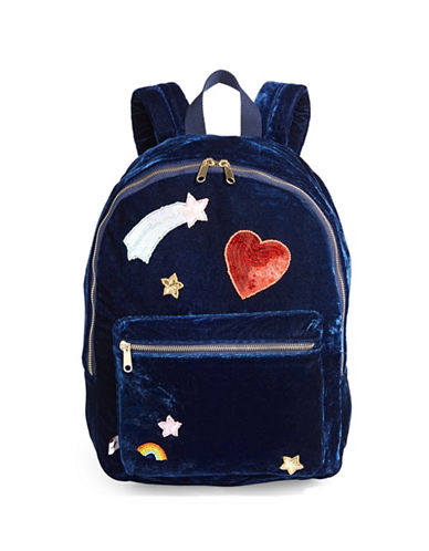 Bow And Drape Velvet Backpack-NAVY-One Size