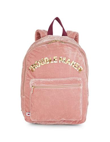 Bow And Drape Embellished Velvet Backpack-BLUSH-One Size