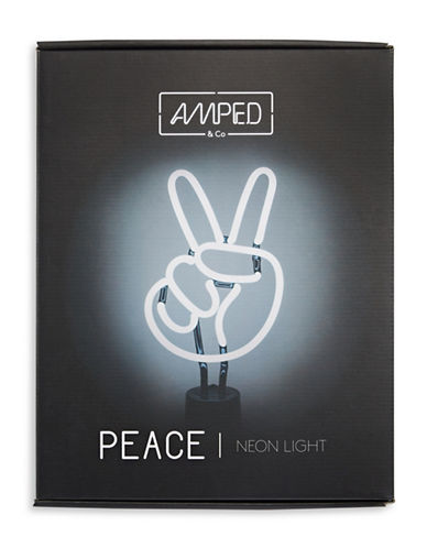 Amped And Co Peace Neon Desk Light-WHITE-One Size
