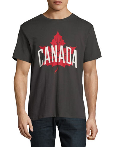 Canadian Olympic Team Collection Maple Leaf Cotton Tee-BLACK-Medium
