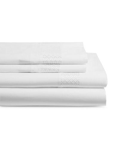 Glucksteinhome Four-Piece Rhodes 400 Thread Count Sheet Set-WHITE-Queen