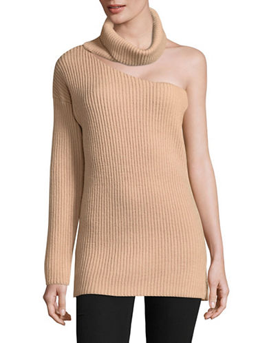 Ministry Of Style Cascade One-Shoulder Knit Top-NUDE-6