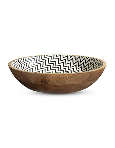 Distinctly Home Zig Zag Wooden Bowl-NATURAL-One Size