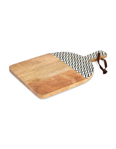 Distinctly Home Zig Zag Wood Chopping Board With Handle-NATURAL-One Size