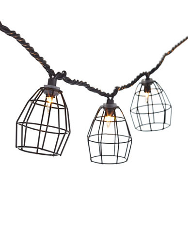 Glucksteinhome Metal Cage String Lights-BLACK-One Size