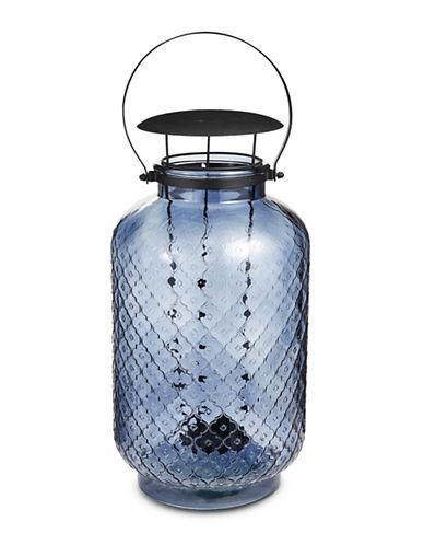 Glucksteinhome Metal Handle Glass Lantern-BLUE-One Size