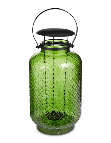 Glucksteinhome Metal Handle Glass Lantern-GREEN-One Size