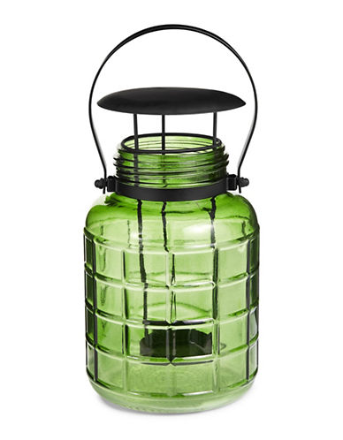 Glucksteinhome Metal Handle Glass Lantern-GREEN-One Size