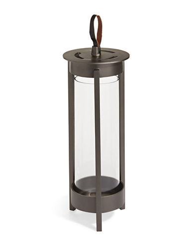 Glucksteinhome Leather Handle Metal Lantern - 16-Inches-GREY-One Size