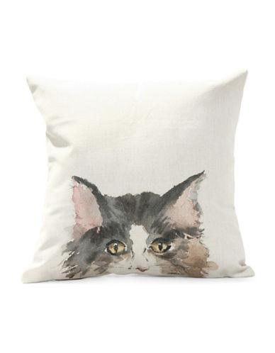 Nema Home Natural Cat Throw Pillow-GREY-18x18