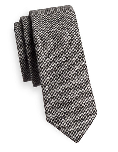 Haight And Ashbury Houndstooth Wool-Blend Tie-GREY-One Size