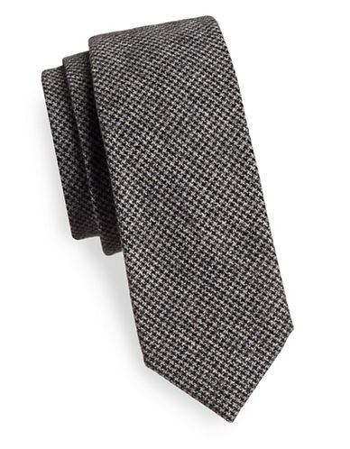 Haight And Ashbury Houndstooth Wool-Blend Tie-CHARCOAL-One Size