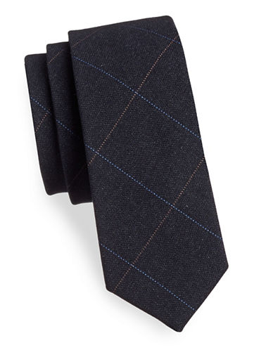 Haight And Ashbury Plaid Cotton Tie-NAVY-One Size