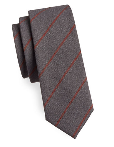 Haight And Ashbury Striped Cotton Tie-GREY/ORANGE-One Size