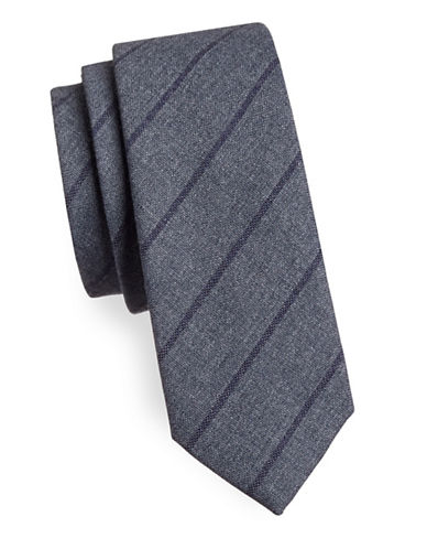 Haight And Ashbury Striped Cotton Tie-GREY/PURPLE-One Size
