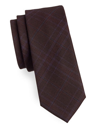Haight And Ashbury Plaid Cotton Tie-RED-One Size