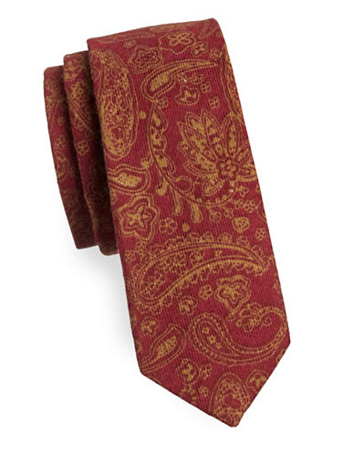 Haight And Ashbury Paisley Cotton Tie-RED-One Size