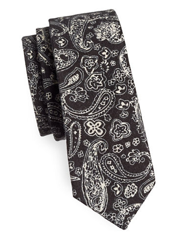 Haight And Ashbury Paisley Cotton Tie-DARK BLUE-One Size
