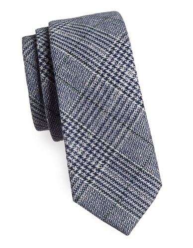 Haight And Ashbury Glen Plaid Slim Tie-NAVY/BLUE-One Size
