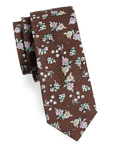 Haight And Ashbury Floral Cotton Tie-BROWN-One Size
