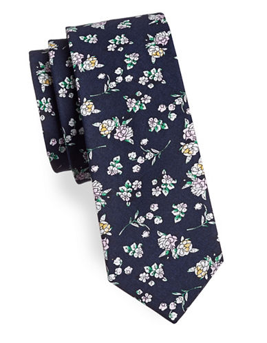 Haight And Ashbury Floral Cotton Tie-NAVY-One Size