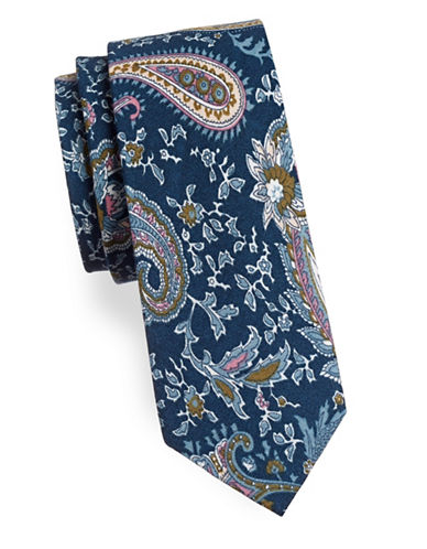 Haight And Ashbury Paisley Cotton Tie-NAVY-One Size