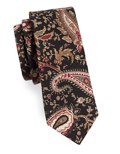 Haight And Ashbury Paisley Cotton Tie-BLACK-One Size