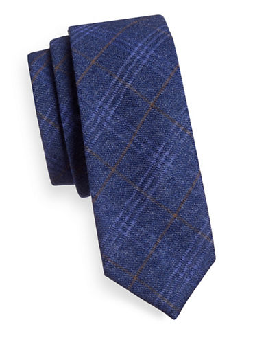 Haight And Ashbury Plaid Cotton Tie-BLUE-One Size
