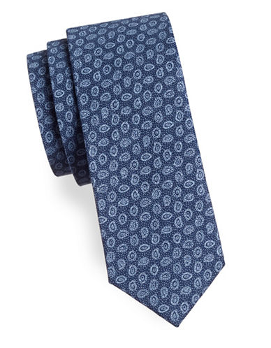 Haight And Ashbury Small Paisley Cotton Tie-BLUE/NAVY-One Size