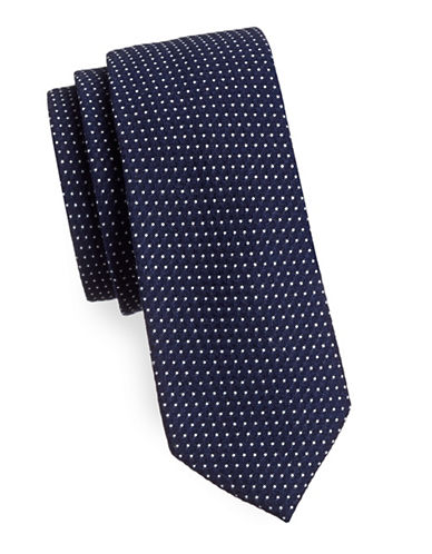 Haight And Ashbury Dotted Cotton Tie-NAVY-One Size