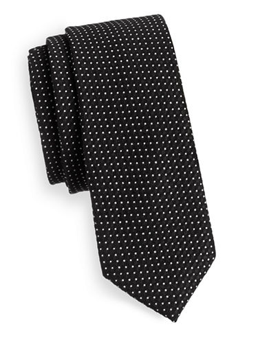 Haight And Ashbury Mini Dot Cotton Tie-BLACK-One Size