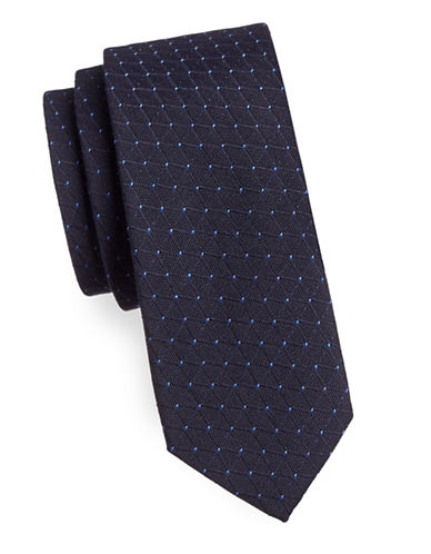 Haight And Ashbury Slim Jacquard Dot Tie-NAVY/BLUE-One Size
